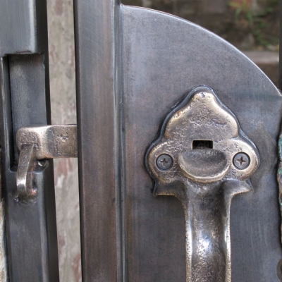 Patinaed Bronze Latch Detail