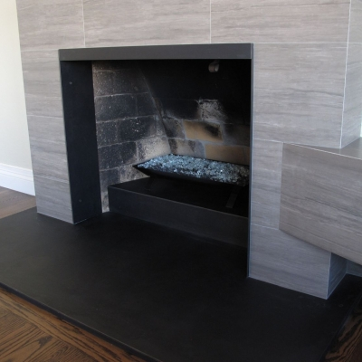 Custom Steel Clad Fireplace Area