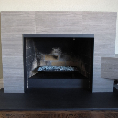 Custom Steel Clad Fireplace Area - Front