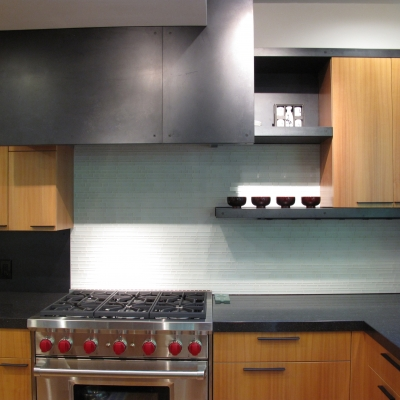 Patinaed Steel Cladding for a Modern Style Kitchen