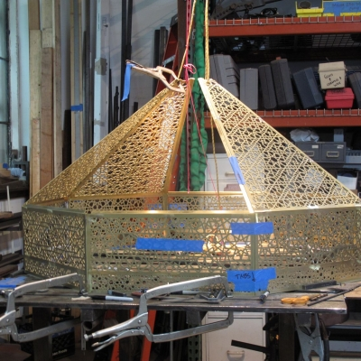 Octagonal Brass Laylight Frame in the Shop Located in Oakland, CA